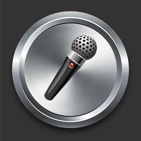 Microphone Icon on Metal Internet Button Original  Illustration