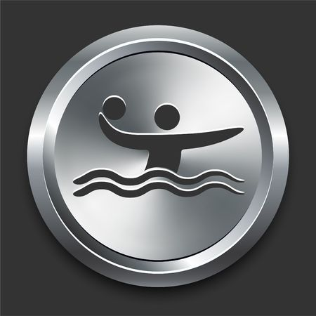 Polo Icon on Metal Internet Button Original  Illustration illustration