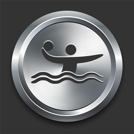 Polo Icon on Metal Internet Button Original  Illustration