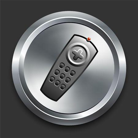 Remote Icon on Metal Internet Button Original Illustration