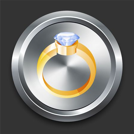 Engagement Ring Icon on Metal Internet Button Original Illustration Stock Photo