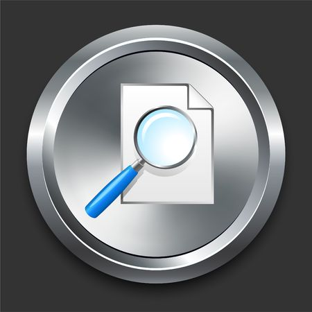 Magnifying Glass Icon on Metal Internet Button Original  Illustration illustration