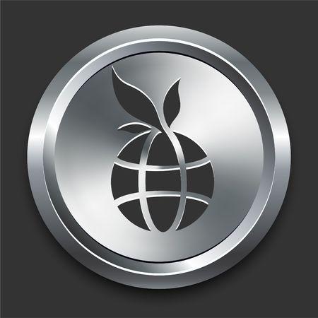 Globe Icon on Metal Internet Button Original  Illustration