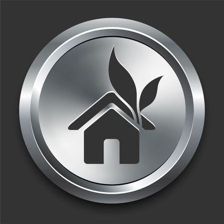 preservation: Home Icon on Metal Internet Button Original  Illustration