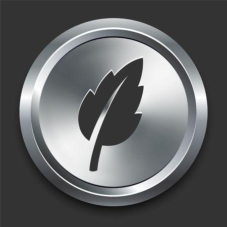 Leaf Icon on Metal Internet Button Original Illustration Stock fotó