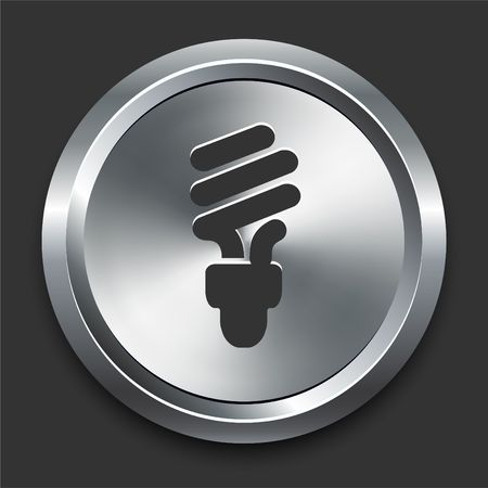 Fluorescent Light Bulb Icon on Metal Internet Button Original Illustration