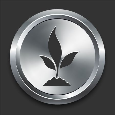 Plant Icon on Metal Internet Button Original  Illustration Stock fotó