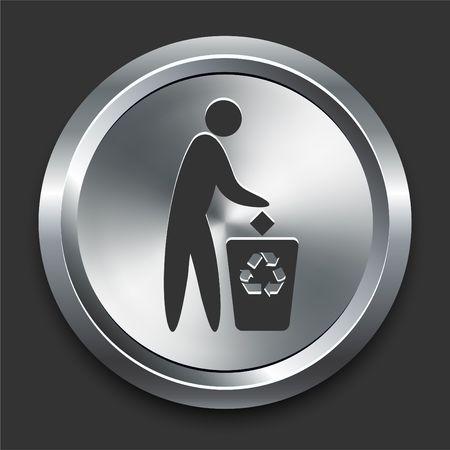 Pollution Symbol Icon on Metal Internet Button Original  Illustration Stock fotó