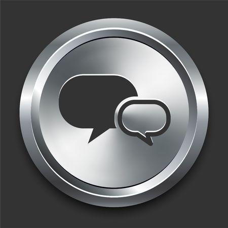 Chat Icon on Metal Internet Button Original  Illustration Zdjęcie Seryjne