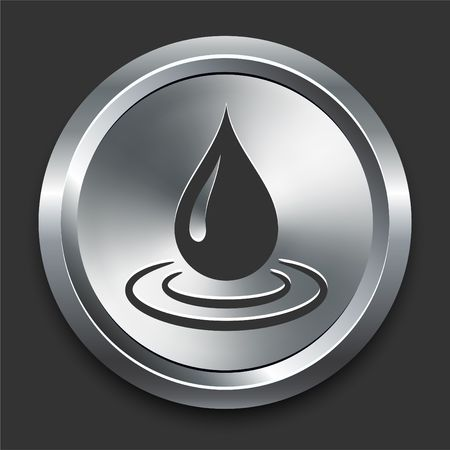 preservation: Water Droplet Icon on Metal Internet Button Original  Illustration Stock Photo