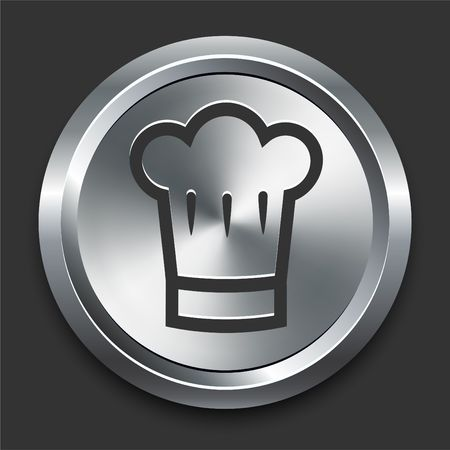 Chef Hat Icon on Metal Internet Button Original  Illustration illustration