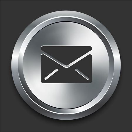Email Message Icon on Metal Internet Button Original  Illustration illustration