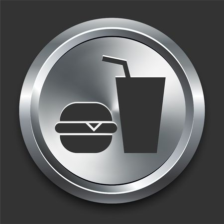 Fastfood Icon on Metal Internet Button Original  Illustration illustration