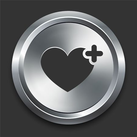 Heart Icon on Metal Internet Button Original Illustration illustration