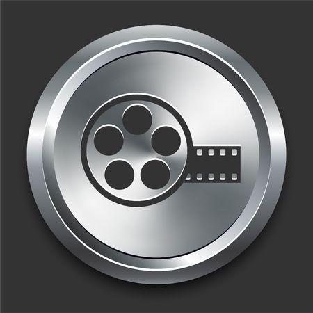 Film Reel Icon on Metal Internet Button Original Illustration Zdjęcie Seryjne