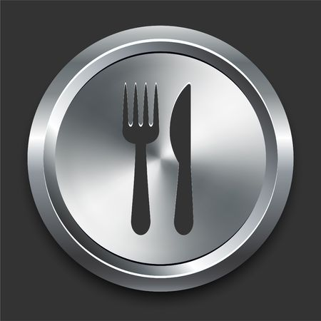 Knife and Fork Icon on Metal Internet Button Original Illustration illustration