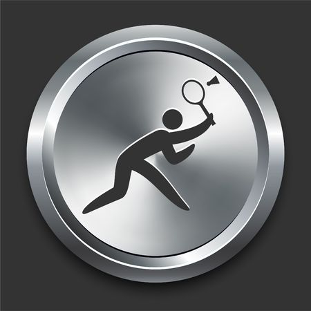 Badminton Icon on Metal Internet Button Original  Illustration illustration