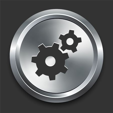 Gear Icon on Metal Internet Button Original  Illustration illustration
