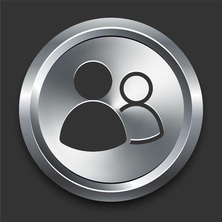 User Group Icon on Metal Internet Button Original  Illustration