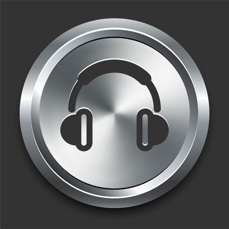 Headphones Icon on Metal Internet Button Original Illustration illustration