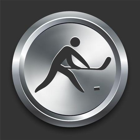 Hockey-pictogram op de originele illustratie Metal Internet knop