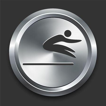 long jump: Long Jump Icon on Metal Internet Button Original  Illustration Stock Photo