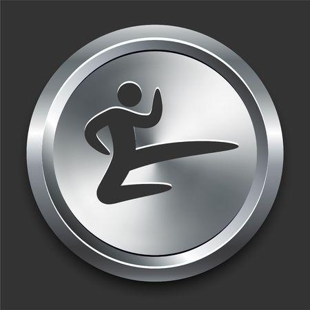 Karate Icon on Metal Internet Button Original  Illustration illustration