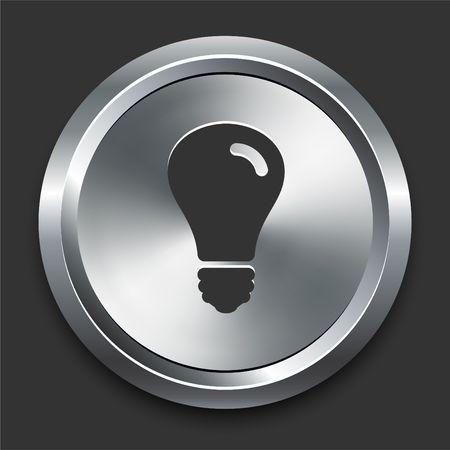 Light Bulb Icon on Metal Internet Button Original  Illustration Zdjęcie Seryjne