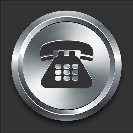 Telephone Icon on Metal Internet Button Original  Illustration illustration