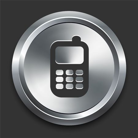 cellphone: Cell Phone Icon on Metal Internet Button Original Illustration