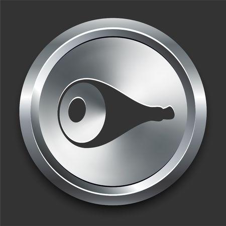 Pork Icon on Metal Internet Button Original  Illustration