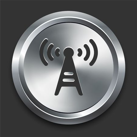 Radio Tower Icon on Metal Internet Button Original  Illustration illustration