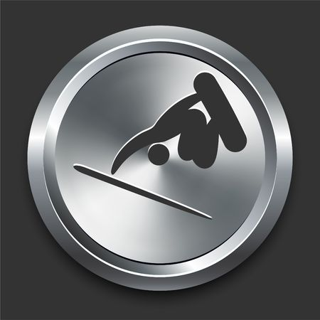 Snowboard (skateboard) Icon on Metal Internet Button Original  Illustration Banco de Imagens