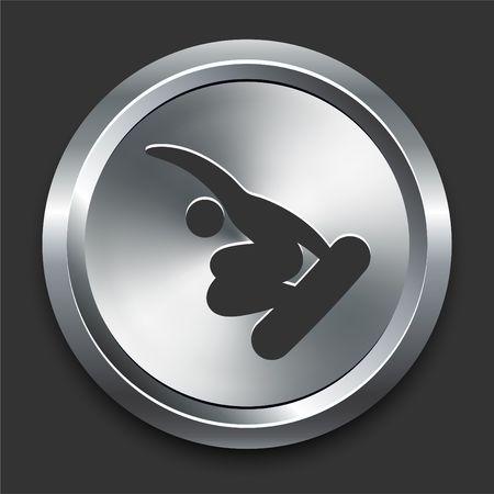 Snowboard (Skateboard) Icon on Metal Internet Button Original  Illustration illustration