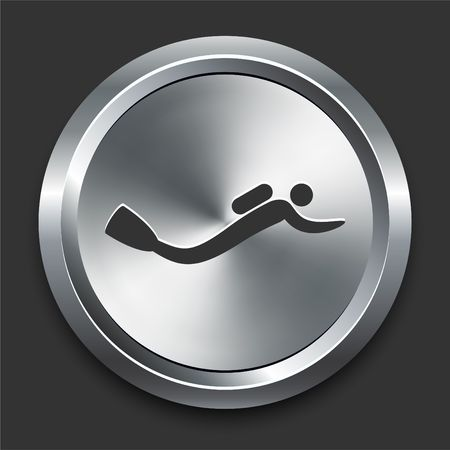 Scuba Diving Icon on Metal Internet Button Original  Illustration Stock Photo
