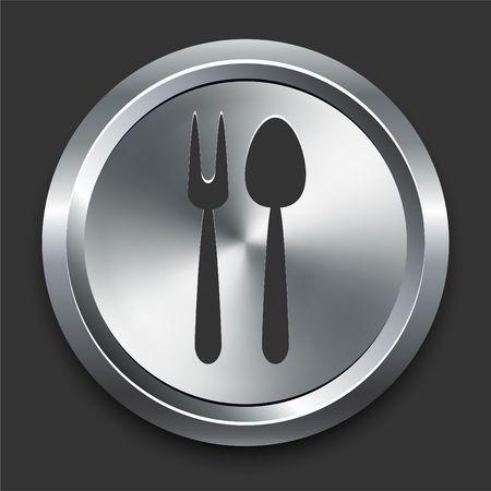 금속 인터넷 단추에 숟가락 및 포크 아이콘 원래 그림