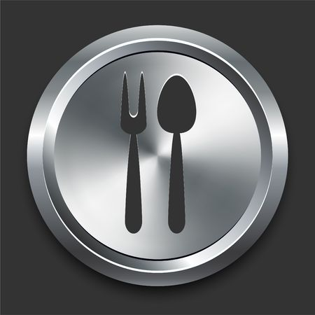 steel: Spoon and Fork Icon on Metal Internet Button Original  Illustration