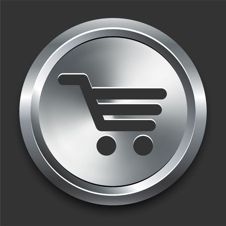 Shopping Cart Icon on Metal Internet Button Original  Illustration illustration