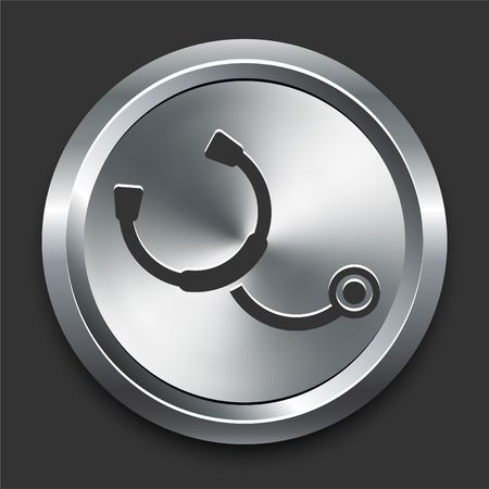 Stethoscope Icon on Metal Internet Button Original Illustration