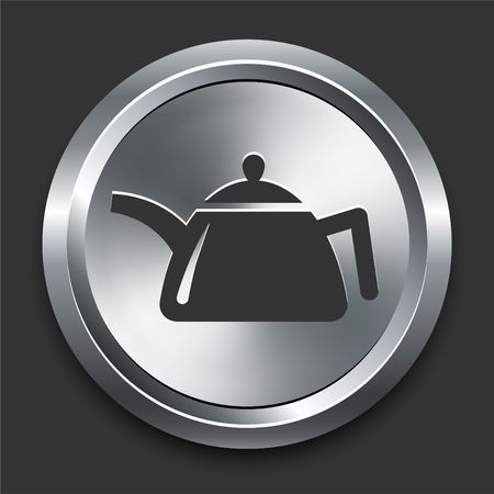 Tea Pot Icon on Metal Internet Button Original  Illustration