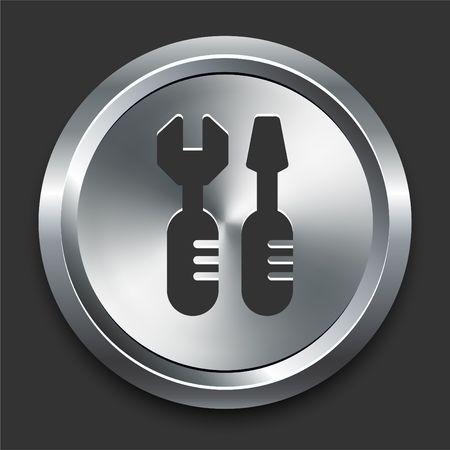 Tools Icon on Metal Internet Button Original  Illustration