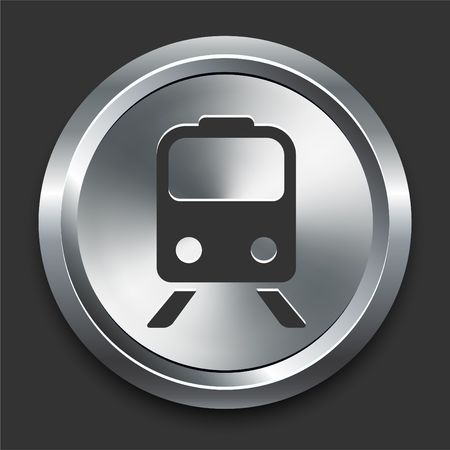 Train Icon on Metal Internet Button Original  Illustration