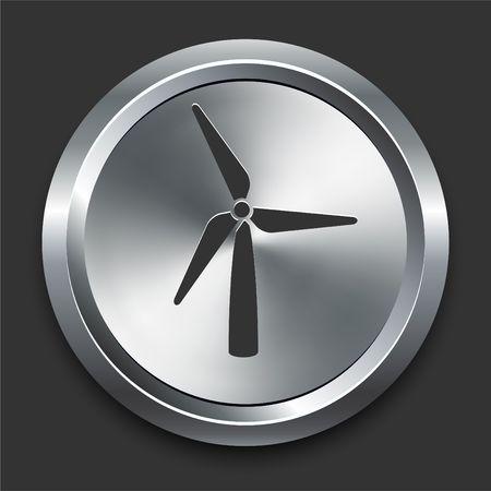 Wind Turbine Icon on Metal Internet Button Original Illustration Stock fotó