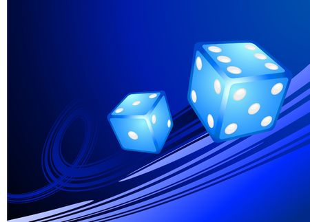 Blue Dice on Internet Background Original  Illustration Dice Ideal for Game Concept Stock Illustration - 6618596
