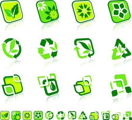 Green Nature Icons Original Illustration Green Nature Concept