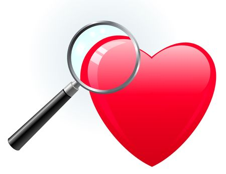 heart under: Heart under magnifying glass Original  Illustration Magnifying Glass Closer