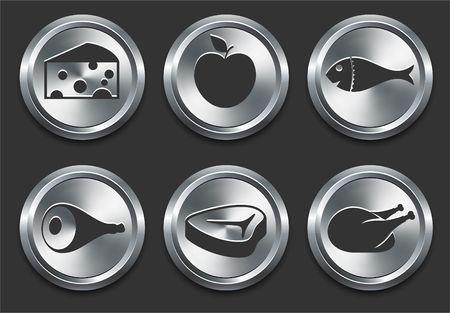 Food Icons on Metal Internet Button Original Illustration illustration