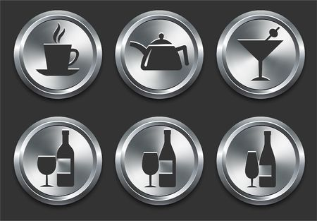 Food Icons on Metal Internet Button Original  Illustration