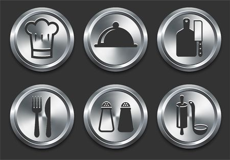 shiny metal background: Food Icons on Metal Internet Button Original Illustration