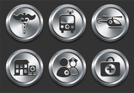 Gezondheid zieken huis pictogrammen op Metal Internet Button originele illustratie
